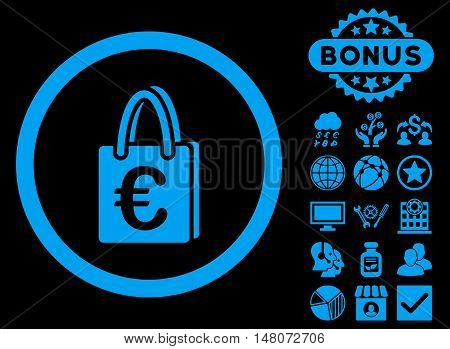 Euro Shopping Bag icon with bonus pictures. Vector illustration style is flat iconic symbols, blue color, black background.