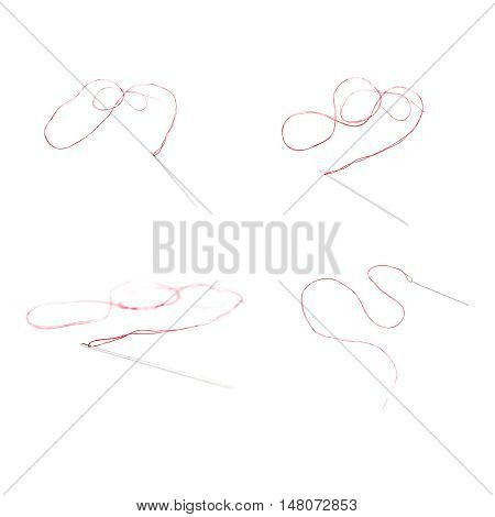 Set of Small needle with red thread isolated over the white background