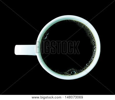 coffee cup isolated on black background .