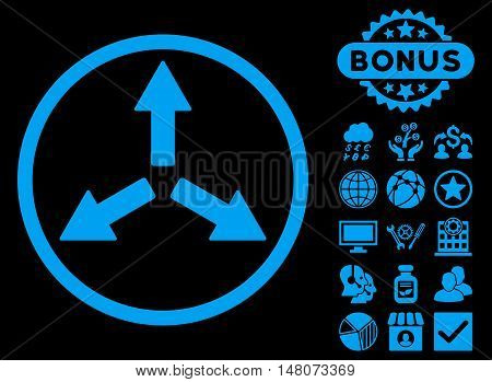 Expand Arrows icon with bonus pictures. Vector illustration style is flat iconic symbols, blue color, black background.
