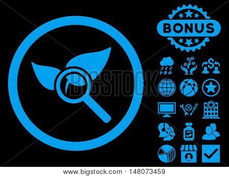 Explore Natural Drugs icon with bonus images. Vector illustration style is flat iconic symbols, blue color, black background.