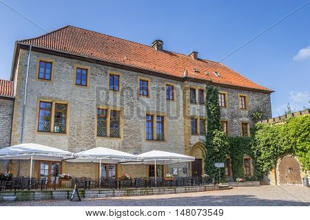 BIELEFELD, GERMANY - SEPTEMBER 6, 2016: Restaurant at the courtyard of the Sparrenburg castle in Bielefeld, Germany