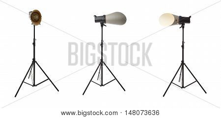 Set of Pulse studio flash with background reflector on a stand over isolated white background