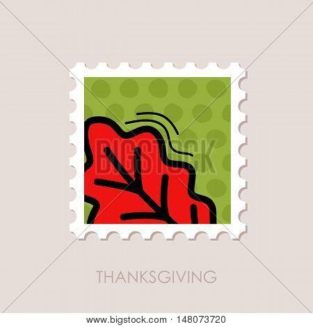 Autumn Leaves Oak stamp. Harvest. Thanksgiving vector eps 10