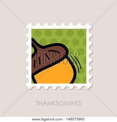 Acorn stamp. Harvest. Thanksgiving vector illustration eps 10