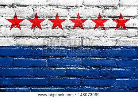 Flag Of Sao Joao Da Barra, Rio De Janeiro State, Brazil, Painted On Brick Wall