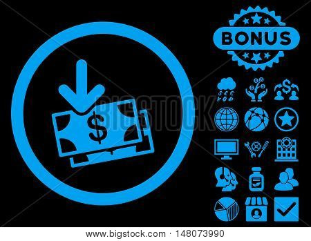Get Banknotes icon with bonus design elements. Vector illustration style is flat iconic symbols, blue color, black background.