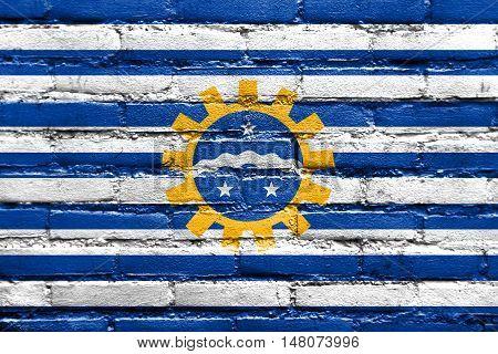 Flag Of Sao Jose Dos Campos, Sao Paulo, Brazil, Painted On Brick Wall