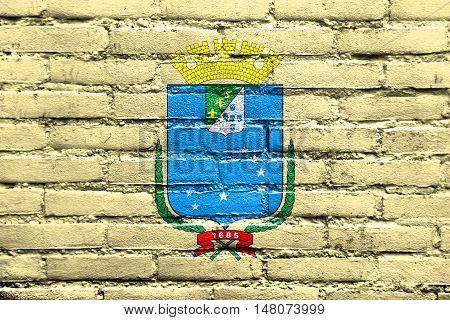 Flag Of Sao Luis, Maranhao, Brazil, Painted On Brick Wall