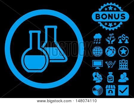 Glass Flasks icon with bonus elements. Vector illustration style is flat iconic symbols, blue color, black background.