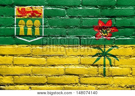 Flag Of Saskatchewan Province, Canada, Painted On Brick Wall
