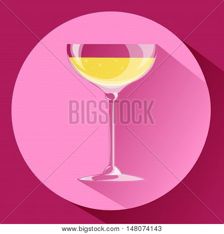 Wide glass of champagne. Icon. Volume on a pink background with long shadow.