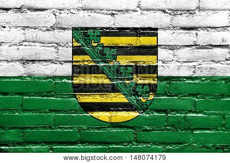 Flag Of Saxony With Coat Of Arms, Germany, Painted On Brick Wall