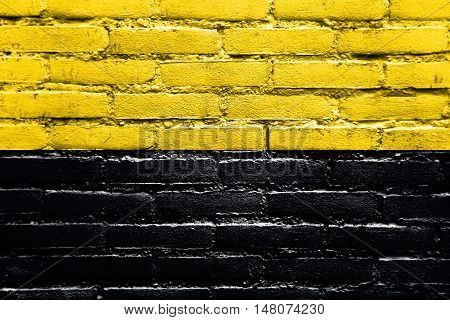 Flag Of Saxony-anhalt, Germany, Painted On Brick Wall
