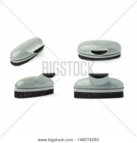 Set of Hand held small vacuum brush head cleaner isolated over the white background