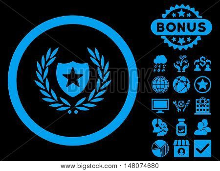 Glory Shield icon with bonus pictures. Vector illustration style is flat iconic symbols, blue color, black background.