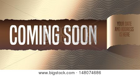 Grand opening coming soon vector banner illustration flyer poster. Template design element with golden paper tearing off for opening ceremony shop club startup