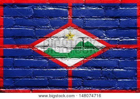 Flag Of Sint Eustatius, Netherlands, Painted On Brick Wall