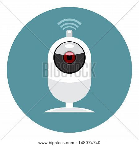 Digital vector white wi-fi and web camera icon, flat style.
