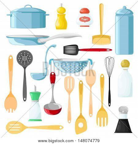 Set of different utensils for cooking. Wooden spoon. Tableware for seasonings. Pepper. Vector illustration.