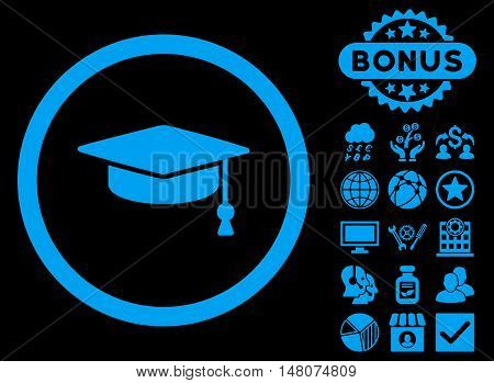 Graduation Cap icon with bonus images. Vector illustration style is flat iconic symbols, blue color, black background.