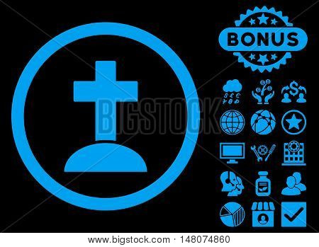 Grave icon with bonus elements. Vector illustration style is flat iconic symbols, blue color, black background.