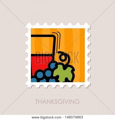 Glass of fresh grape juice stamp. Harvest. Thanksgiving vector illustration eps 10