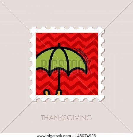Umbrella stamp. Rain protection symbol. Thanksgiving vector illustration eps 10