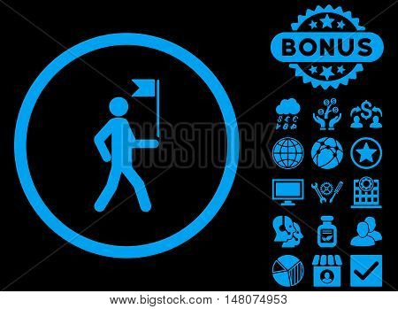 Guide icon with bonus images. Vector illustration style is flat iconic symbols, blue color, black background.