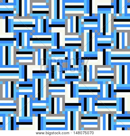 Geometric colorful op art pattern. Vector stripes in blue colors. Geometric background with squares and stripes. Striped bold print for fall winter fashion. Modern textile design with geometric shapes