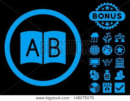 Handbook icon with bonus pictogram. Vector illustration style is flat iconic symbols, blue color, black background.