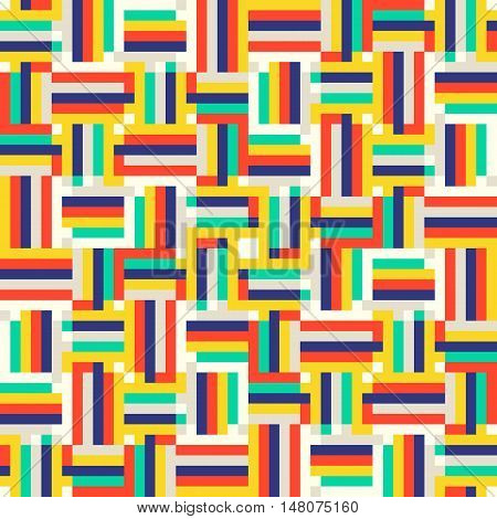 Geometric colorful op art pattern. Vector stripes in bright colors. Geometric background with squares and stripes. Striped bold print for fall winter fashion. Textile design with geometric shapes
