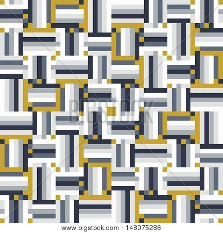 Geometric colorful op art pattern. Vector stripes in organic colors. Geometric background with squares, pixels and stripes. Striped print for fall winter fashion. Textile design with geometric shapes