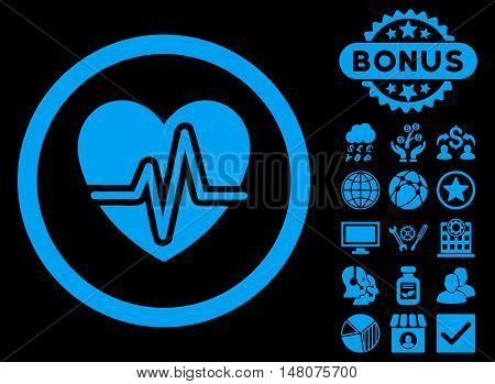 Heart Diagram icon with bonus design elements. Vector illustration style is flat iconic symbols blue color black background.