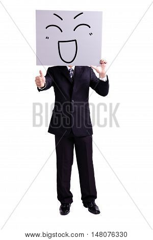 businessman holding happy expression billboard and thumb up with isolated white background