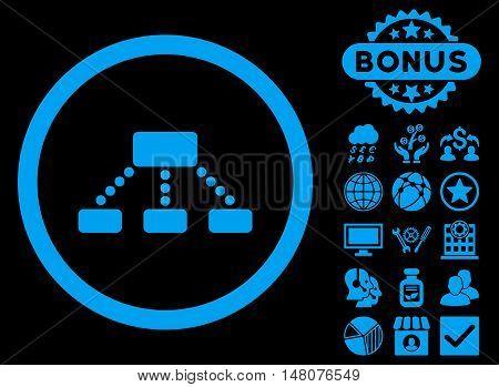 Hierarchy icon with bonus symbols. Vector illustration style is flat iconic symbols blue color black background.