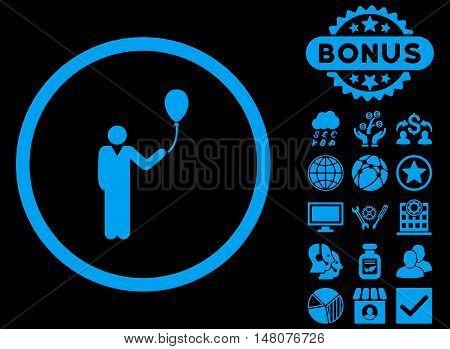 Holiday icon with bonus symbols. Vector illustration style is flat iconic symbols blue color black background.