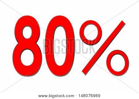 Red percent sign 80 % on white background .