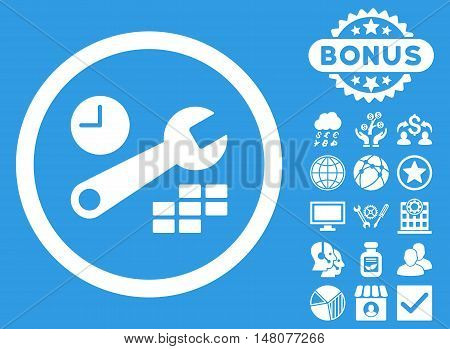 Date and Time Configuration icon with bonus pictures. Vector illustration style is flat iconic symbols, white color, blue background.