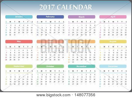 calendar for 2017 starts sunday, calendar 2017, organizer 2017, vector calendar, pocket calendar design, horizontal calendar, colored calendar