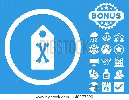 Dead Marker icon with bonus pictogram. Vector illustration style is flat iconic symbols, white color, blue background.