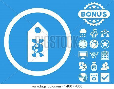 Death Label icon with bonus design elements. Vector illustration style is flat iconic symbols, white color, blue background.