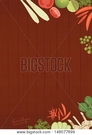 vector of Thai foods restaurant menu templateThai ingredients on wooden background