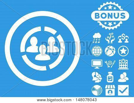 Demography Diagram icon with bonus pictogram. Vector illustration style is flat iconic symbols, white color, blue background.