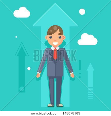 Experienced Professional Manager Businessman Success Growth Infographics Flat Design Character Vector Illustration