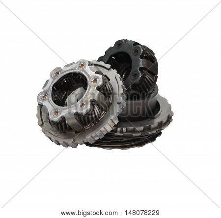 Engineering concept. Gears on white background. Clipping path is included
