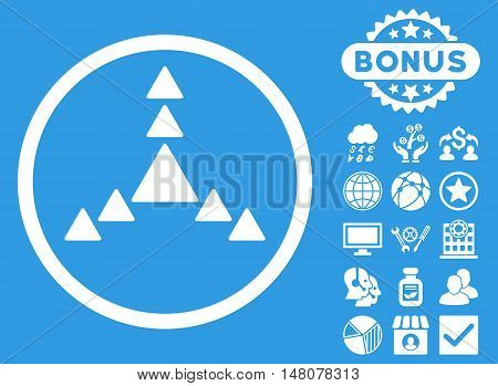 Direction Triangles icon with bonus symbols. Vector illustration style is flat iconic symbols, white color, blue background.