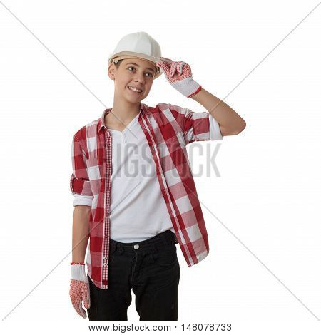Cute teenager boy in red checkered shirt and building helmet over white isolated background, half body, constructing concept