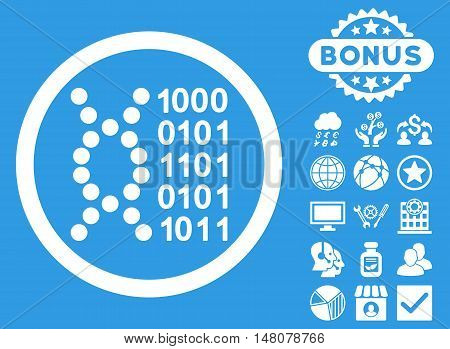 DNA Code icon with bonus elements. Vector illustration style is flat iconic symbols, white color, blue background.