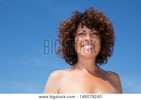 Close Up Single Woman Wear Standing And Smile With Happiness